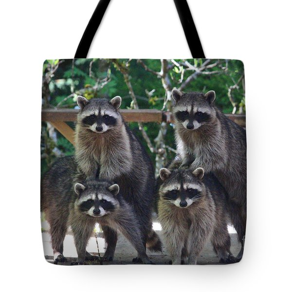 Cheerleading Raccoons Tote Bag by Kym Backland