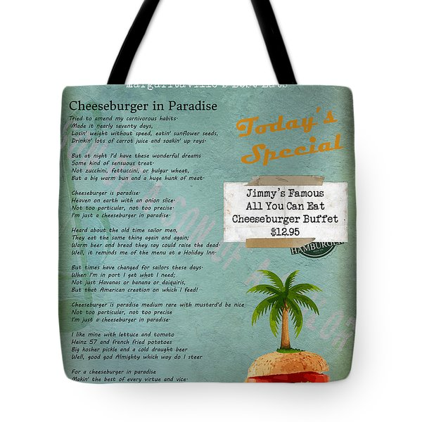 Cheeseburger In Paradise Jimmy Buffet Tribute Menu  Tote Bag