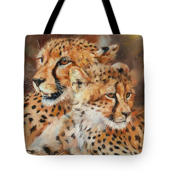 Cheetah And Cub Tote Bag by David Stribbling