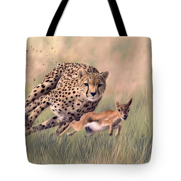 Cheetah And Gazelle Painting Tote Bag