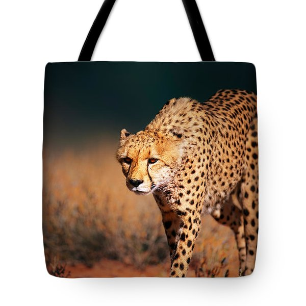 Cheetah Approaching From The Front Tote Bag by Johan Swanepoel