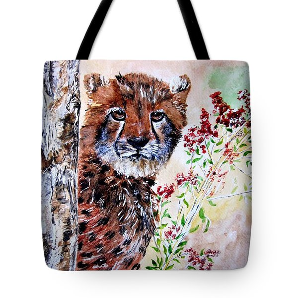 Cheetah Behind A Tree Tote Bag