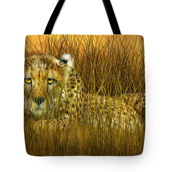 Cheetah - In The Wild Grass Tote Bag by Carol Cavalaris