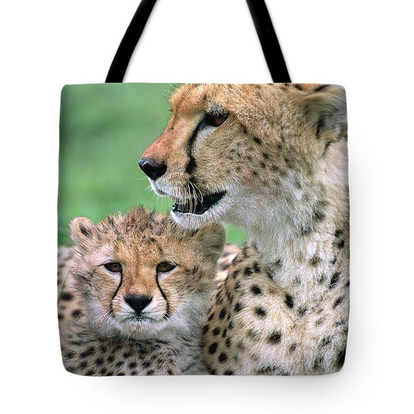 Cheetah Mother And Cub Tote Bag by Yva Momatiuk John Eastcott