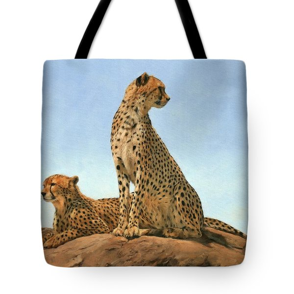 Cheetahs Tote Bag by David Stribbling