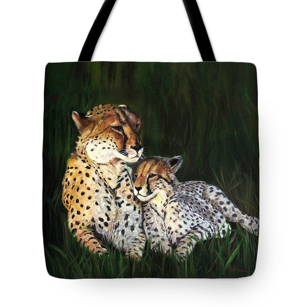 Tote Bag featuring the painting Cheetahs by LaVonne Hand