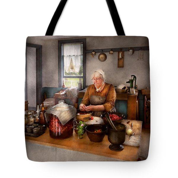 Chef - Kitchen - Cleaning Cherries  Tote Bag by Mike Savad