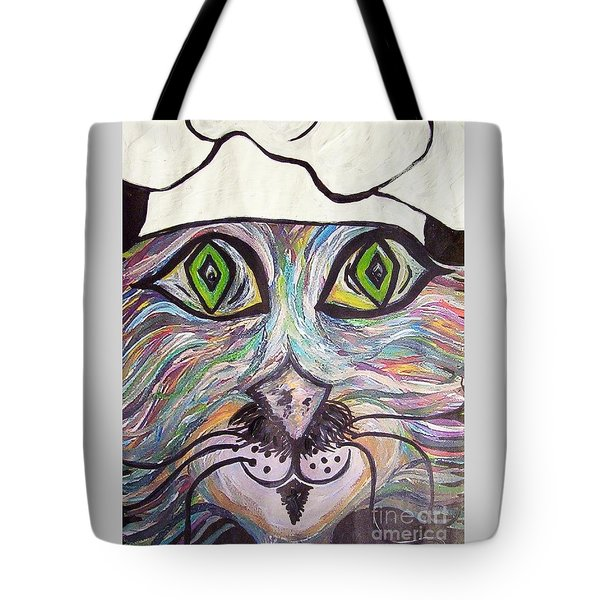 Tote Bag featuring the painting Chef Pierre ... A Cat With Good Taste by Eloise Schneider