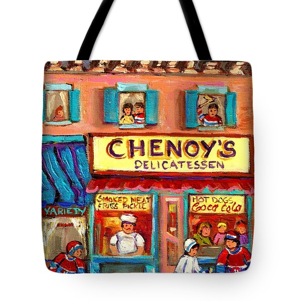 Chenoys Delicatessen Montreal Landmarks Painting  Carole Spandau Street Scene Specialist Artist Tote Bag by Carole Spandau