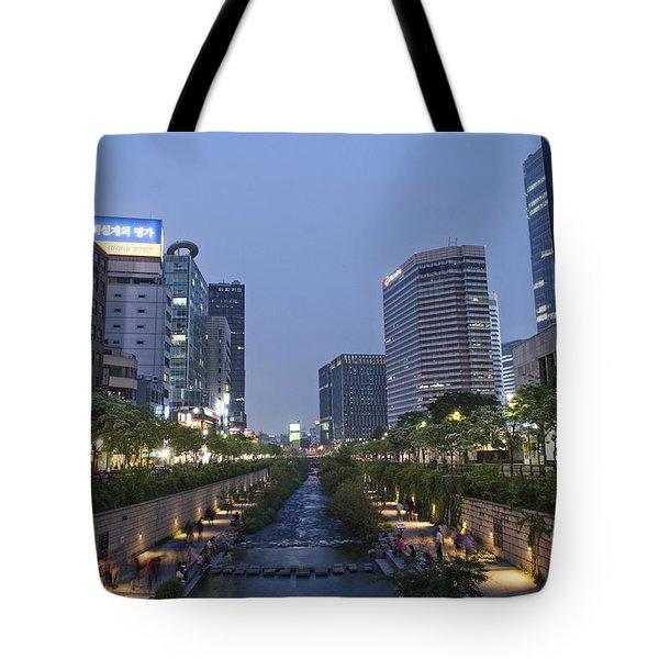 Cheonggyecheon Stream In Seoul South Korea Tote Bag
