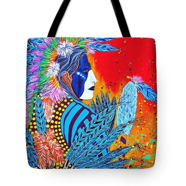 Tote Bag featuring the painting Cherokee Dancer by Debbie Chamberlin