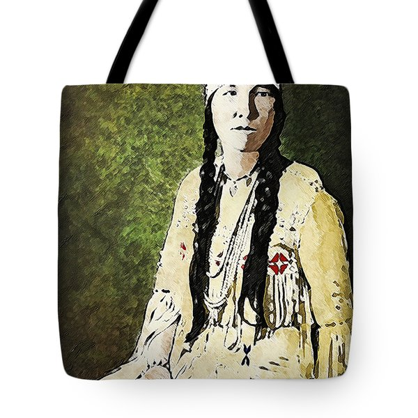 Tote Bag featuring the digital art Cherokee Woman by Lianne Schneider
