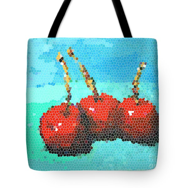 Cherries IIi - Mosaic Digital Art Tote Bag