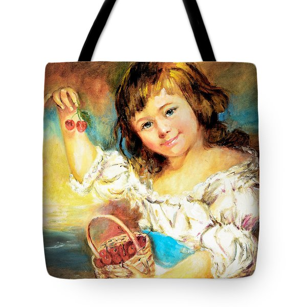 Cherry Basket Girl Tote Bag