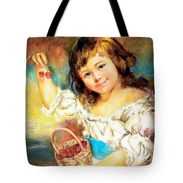 Cherry Basket Girl Tote Bag
