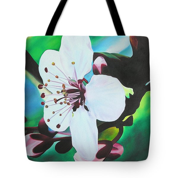 Tote Bag featuring the painting Cherry Blosom by Joshua Morton