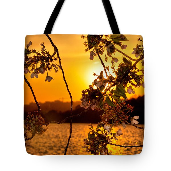 Tote Bag featuring the photograph Cherry Blossom Sunset by Mitchell R Grosky
