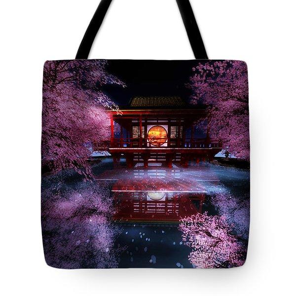 Cherry Blossom Tea House Tote Bag