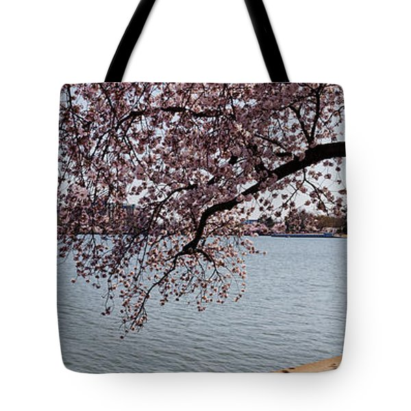 Cherry Blossom Trees With The Jefferson Tote Bag by Panoramic Images