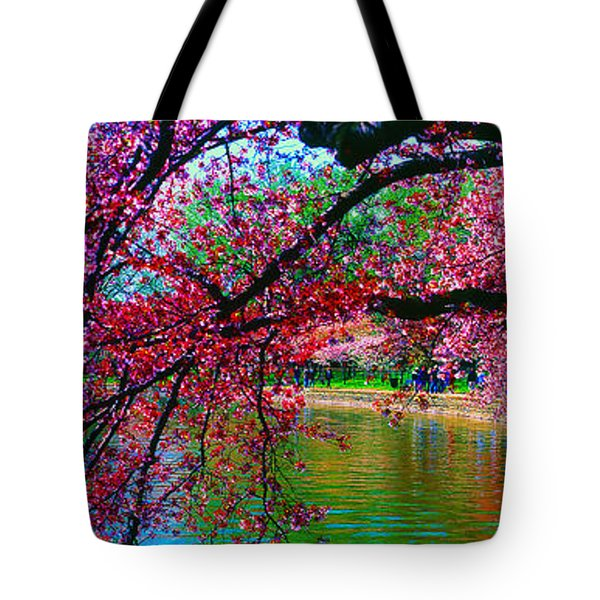 Cherry Blossom Walk Tidal Basin At 17th Street Tote Bag
