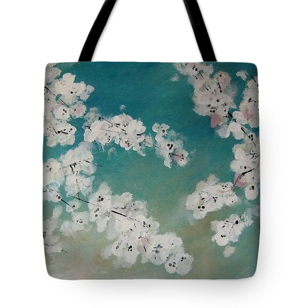 Cherry Blossoms Against Sky Tote Bag by Lynne McQueen