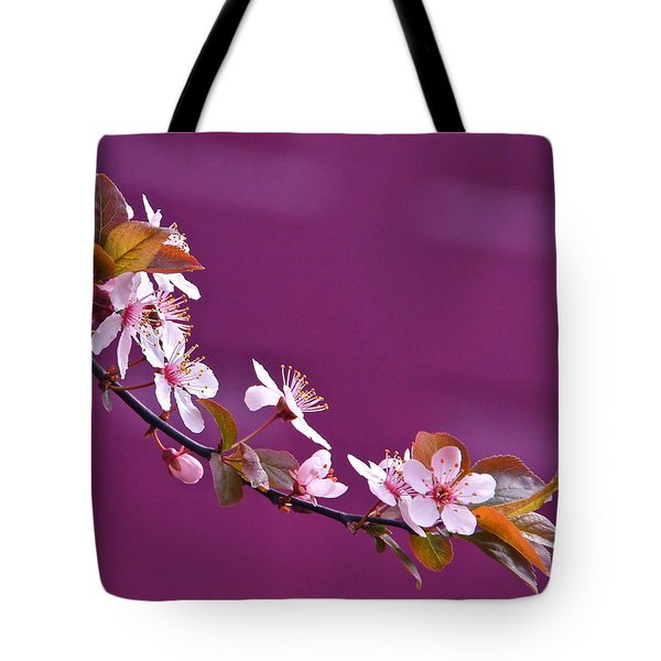 Cherry Blossoms And Plum Door Tote Bag