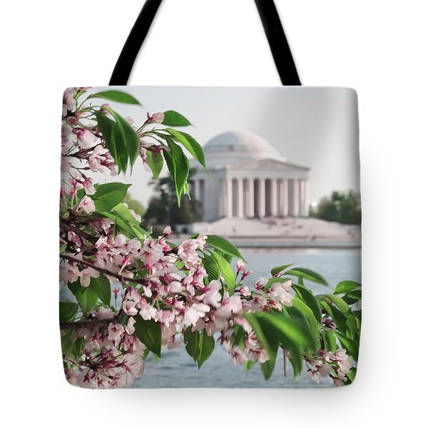 Tote Bag featuring the photograph Cherry Blossoms And The Jefferson Memorial 2 by Mitchell R Grosky
