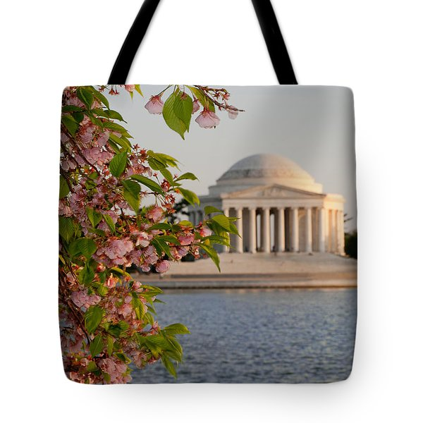 Tote Bag featuring the photograph Cherry Blossoms And The Jefferson Memorial 3 by Mitchell R Grosky