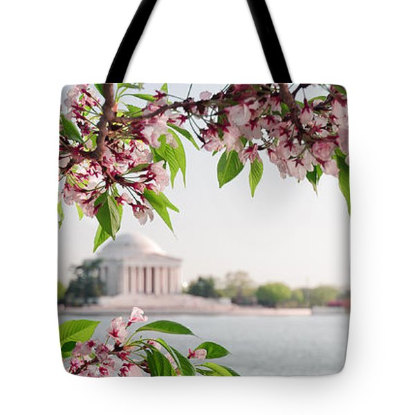 Tote Bag featuring the photograph Cherry Blossoms And The Jefferson Memorial Panorama by Mitchell R Grosky