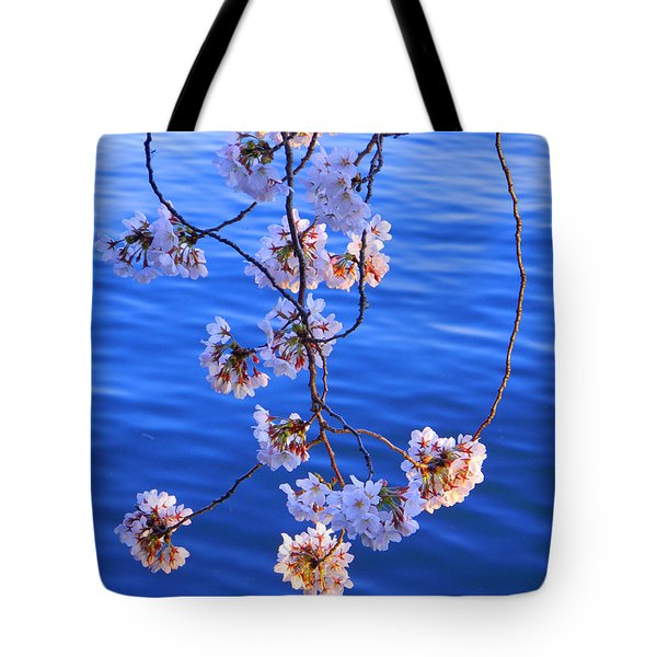 Cherry Blossoms Hanging Over Tidal Basin Tote Bag