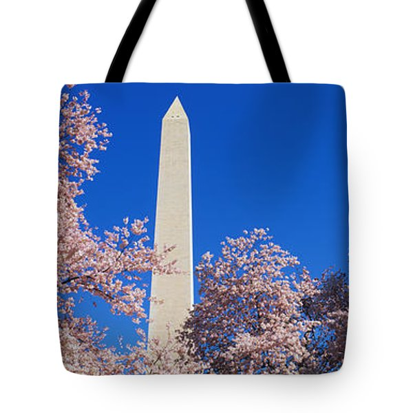 Cherry Blossoms Washington Monument Tote Bag by Panoramic Images