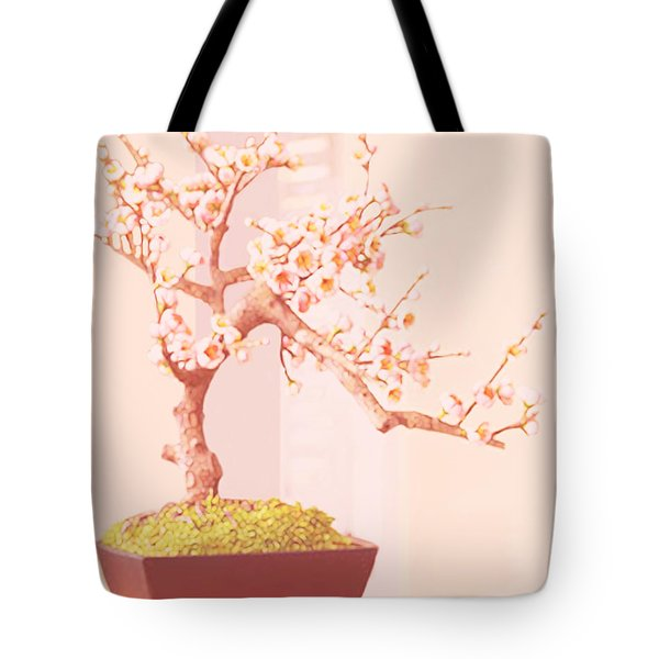 Cherry Bonsai Tree Tote Bag by Marian Cates