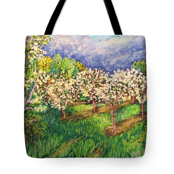 Cherry Orchard Glow Tote Bag by Madonna Siles