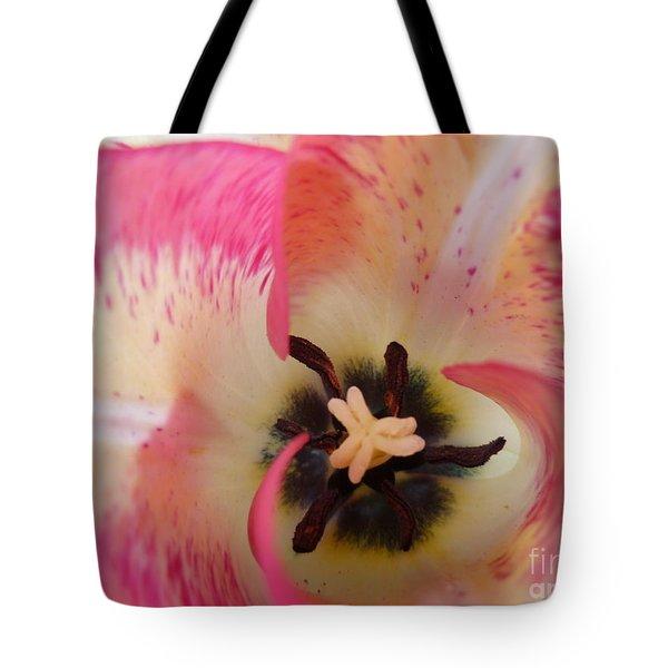 Cherry Pink Swirl Tote Bag by Lingfai Leung
