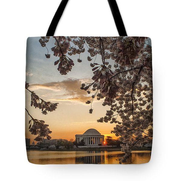 Cherry Sunrise Burst Tote Bag