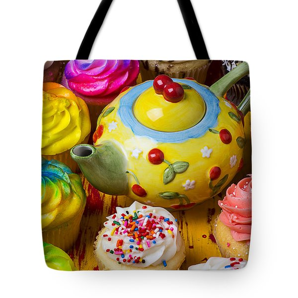 Cherry Teapot And Cupcakes Tote Bag by Garry Gay