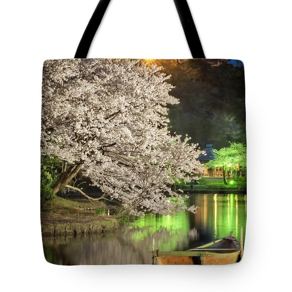 Tote Bag featuring the photograph Cherry Blossom Temple Boat by John Swartz