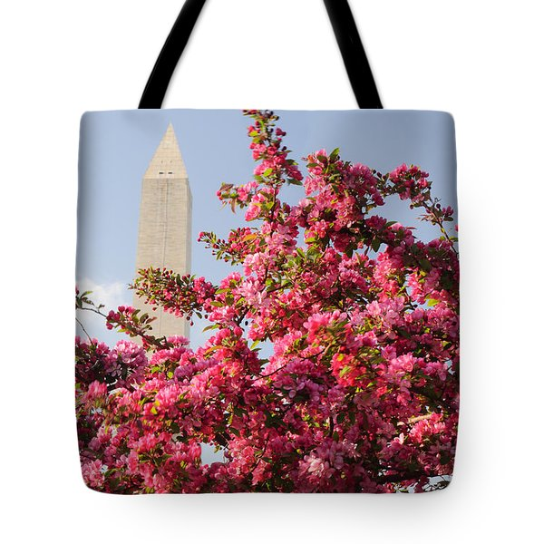 Tote Bag featuring the photograph Cherry Trees And Washington Monument 5 by Mitchell R Grosky