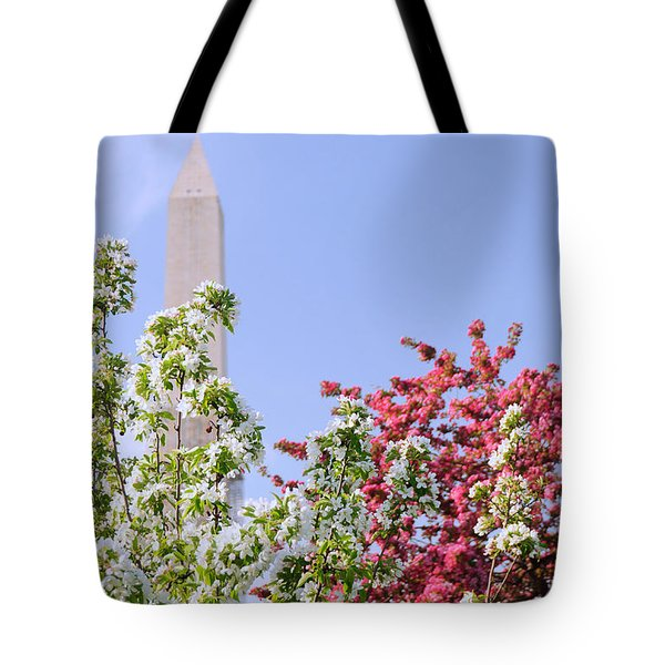 Cherry Trees And Washington Monument Four Tote Bag