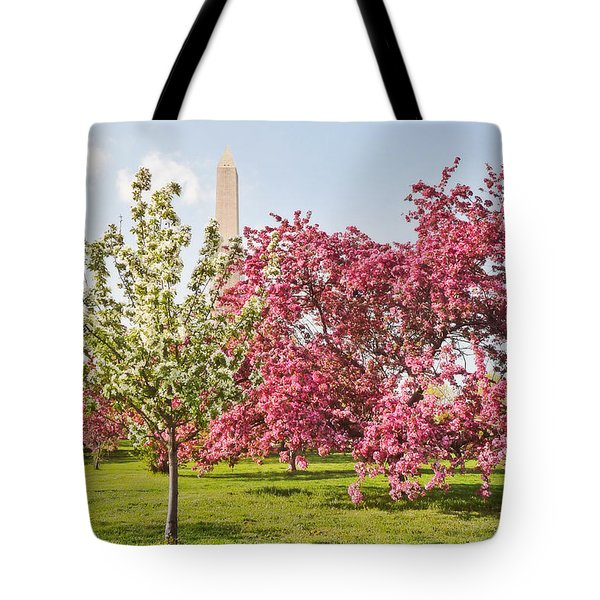 Cherry Trees And Washington Monument Three Tote Bag