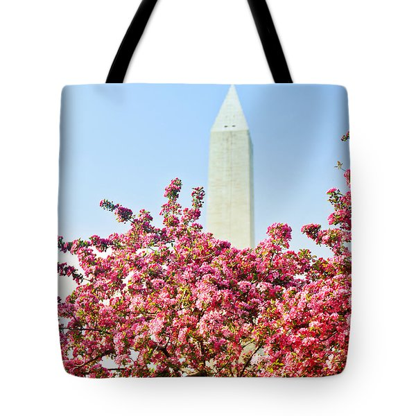 Cherry Trees And Washington Monument Two Tote Bag