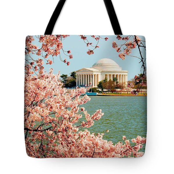 Cherry Trees At The Jefferson Tote Bag by Nick Zelinsky