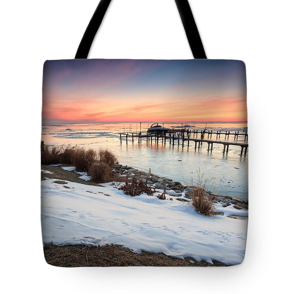 Tote Bag featuring the photograph Chesapeake Bay Freeze by Jennifer Casey