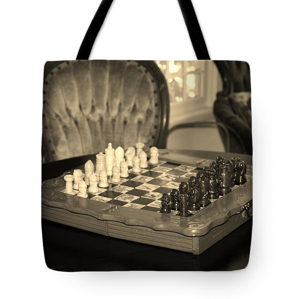 Chess Game Tote Bag by Cynthia Guinn
