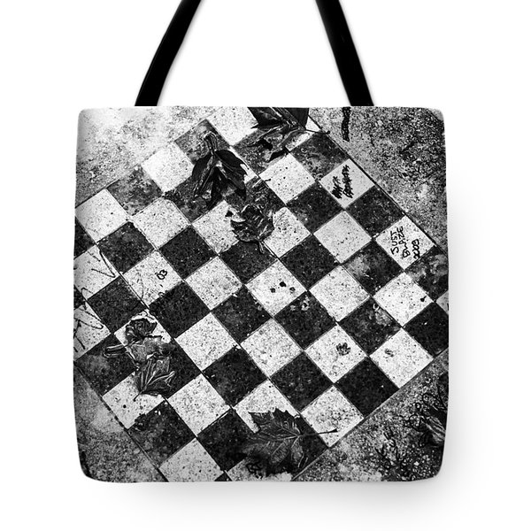 Tote Bag featuring the photograph Chess Table In Rain by Dave Beckerman