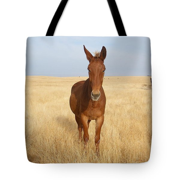 Chestnut Mule In Gold Tote Bag