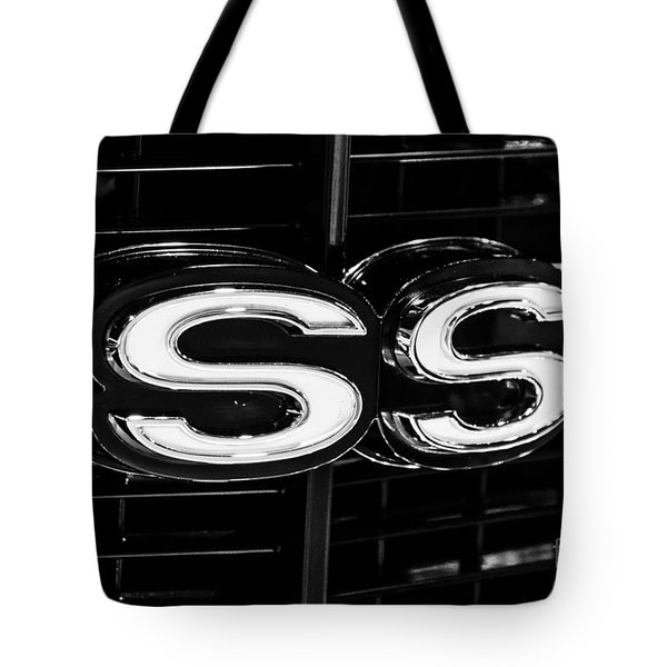 Chevelle Ss Super Sport Emblem Black And White Picture Tote Bag by Paul Velgos