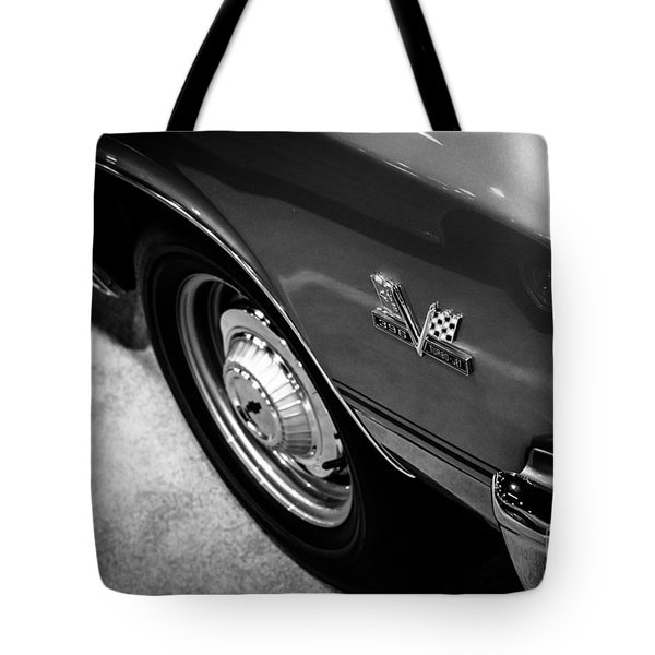 Chevrolet Chevelle 396 Black And White Picture Tote Bag by Paul Velgos