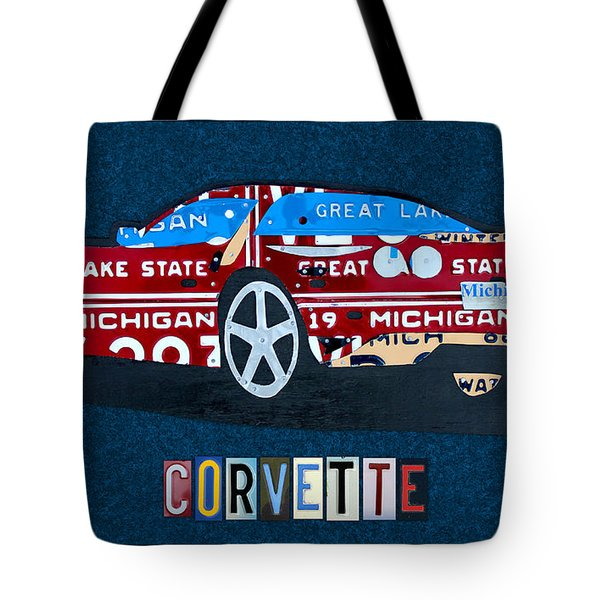 Chevrolet Corvette Recycled Michigan License Plate Art Tote Bag by Design Turnpike