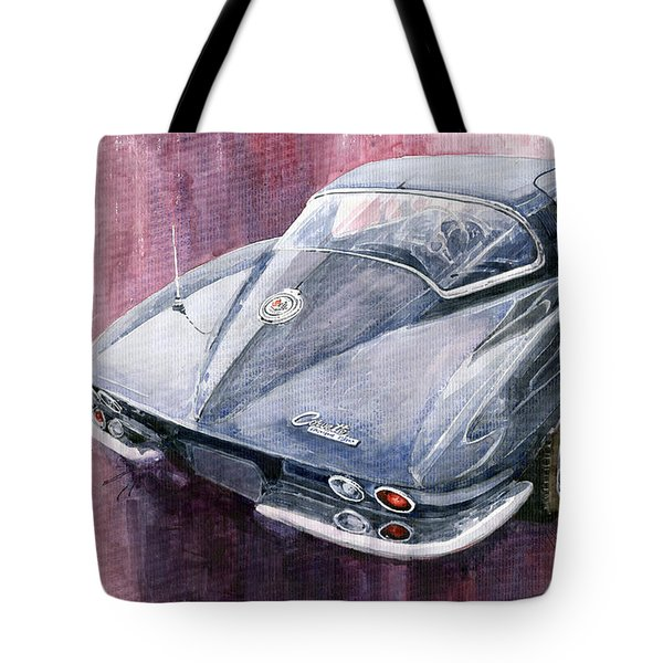 Chevrolet Corvette Sting Ray 1965 Tote Bag by Yuriy  Shevchuk